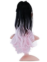cheap -20 inch Pink Drawstring Curly Ponytails Tie Up Synthetic Hair Piece Hair Extension