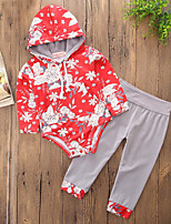 cheap -Girls' Daily Sports Floral Clothing Set,Cotton Polyester Spring Fall Long Sleeve Casual Active Chinoiserie Red