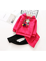 cheap -Girls' Birthday Daily Solid Cartoon Clothing Set,Cotton Polyester Winter Fall Long Sleeve Casual Active Fuchsia Yellow Blushing Pink