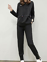 cheap -Women's Sports Simple Fall Hoodie Pant Suits,Solid Hooded Long Sleeves Cotton