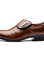 Недорогие -Муж. обувь Лакированная кожа Весна Осень Удобная обувь Мокасины и Свитер Пряжки для Повседневные Для вечеринки / ужина Черный Коричневый