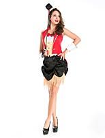 abordables -Circo Jefe de pista Disfrace de Cosplay Ropa de Fiesta Mujer Halloween Carnaval Festival / Celebración Disfraces de Halloween Rojo Bloques