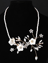 cheap -Women's Floral Rhinestone Pearl Choker Necklace - Floral Fashion European Flower Gold Necklace For Wedding Daily