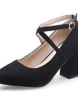 cheap -Women's Shoes Leatherette Spring Fall Comfort Heels Chunky Heel Pointed Toe Buckle for Casual Dress Almond Pink Black