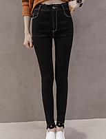 preiswerte -Damen Mittel Polyester Solide Einfarbig Legging,Schwarz