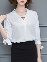 cheap -Women's Casual/Daily Vintage Blouse,Solid V Neck 3/4 Length Sleeve Polyester