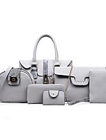 cheap -Women Bags PU Bag Set 6 Pieces Purse Set Zipper for Casual All Season Light Grey Brown Red Black