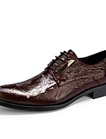 cheap -Men's Shoes Leather Spring Fall Formal Shoes Oxfords for Office & Career Party & Evening Black Burgundy