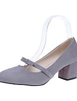 Недорогие -Жен. Обувь Флис Лето Удобная обувь Обувь на каблуках На толстом каблуке Закрытый мыс для Повседневные Черный Серый Розовый