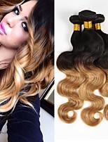 economico -3 pezzi Nero / Strawberry Blonde Ondulato naturale Brasiliano Tessiture capelli umani Extensions per capelli 0.3kg