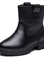 Недорогие -Девочки обувь Кожа Зима Осень Удобная обувь Зимние сапоги Ботинки Ботинки для Повседневные Черный Красный