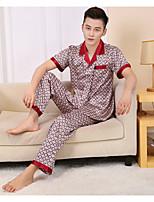 abordables -Costumes Pyjamas Homme,Fleur Moyen Polyester Rouge