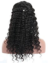 cheap -Human Hair Lace Front Wig Wig Malaysian Hair Kinky Curly / Deep Wave With Baby Hair 120% Density Natural Hairline Women's Short / Medium Length / Long Human Hair Lace Wig