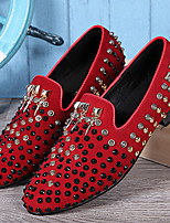 cheap -Men's Shoes Nappa Leather Spring Fall Formal Shoes Comfort Loafers & Slip-Ons Beading Sparkling Glitter for Casual Party & Evening Red