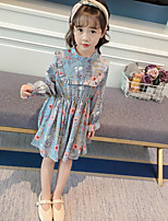 cheap -Girl's Daily Floral Dress,Cotton Polyester Spring Long Sleeves Simple Blue