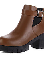 cheap -Women's Shoes PU Spring Fall Comfort Bootie Boots Chunky Heel for Casual Dark Brown Black