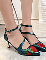 cheap -Women's Shoes PU Spring Summer Basic Pump Heels Stiletto Heel Pointed Toe for Casual Green Black