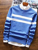 Недорогие -Для мужчин Повседневные На каждый день Короткий Пуловер Полоски,Рубашечный воротник Длинный рукав Полиэстер Зима Осень Плотная