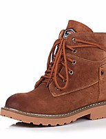 cheap -Women's Shoes Nappa Leather Cowhide Winter Fall Comfort Combat Boots Boots Chunky Heel Booties/Ankle Boots for Casual Brown