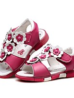 cheap -Girls' Shoes Leather Summer First Walkers Comfort Sandals Magic Tape Flower for Casual Dress White Peach Pink