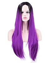 cheap -Women Synthetic Wig Long Straight Ombre Draw Purple To Black Natural Wigs Costume Wig