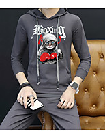 cheap -Men's Casual/Daily Street chic Set Animal print Hoodie Micro-elastic Cotton Long Sleeves Fall