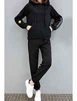 cheap -Women's Casual/Daily Simple Spring/Fall Set Pant Suits,Solid Quotes & Sayings Hooded Long Sleeves Cotton Polyester