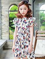 cheap -Girl's Daily Print Dress,Cotton Summer Sleeveless Cute Casual White