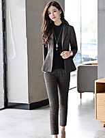 cheap -Women's Daily Work Casual Winter Fall Blazer Pant Suits,Striped Shirt Collar Long Sleeve Stripe Polyester Micro-elastic