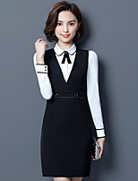 cheap -Women's Work Casual Fall Shirt Dress Suits,Print Crew Neck Long Sleeve Polyester