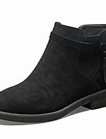 Недорогие -Для женщин Обувь Искусственное волокно Весна Модная обувь Ботинки На низком каблуке Круглый носок Сапоги до середины икры для Повседневные