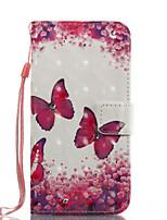 abordables -Coque Pour Samsung Galaxy A5(2017) A3(2017) Portefeuille Porte Carte Avec Support Clapet Motif Magnétique Coque Intégrale Papillon Dur