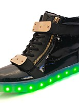 cheap -Shoes Leatherette Customized Materials Patent Leather Winter Spring Light Up Shoes Comfort Sneakers Buckle for Casual Outdoor White Black