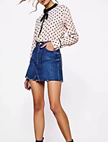 cheap -Women's Polyester Shirt - Polka Dot Crew Neck