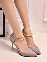 cheap -Women's Shoes Nubuck leather Spring Fall Comfort Heels Stiletto Heel for Casual Gray Black