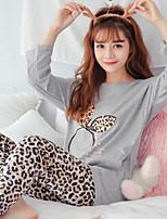 abordables -Costumes Pyjamas Femme Moyen Coton Gris