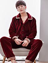 abordables -Costumes Pyjamas Homme,Fleur Mosaïque Epais Polyester Chameau Marine Vin