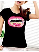 abordables -Tee-shirt Femme,Imprimé Quotidien Décontracté Printemps Eté Manches courtes Col Arrondi Coton Moyen