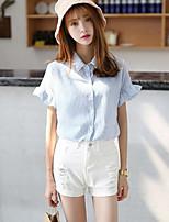 cheap -Women's Daily Casual Summer Fall Shirt,Striped Shirt Collar Short Sleeve Cotton