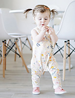 cheap -Baby Casual/Daily Floral One-Pieces,Cotton Spring Ordinary Sleeveless White