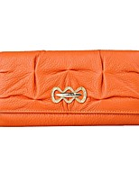 cheap -Women Bags Cowhide Wallet Ruffles for Shopping Casual All Season Orange