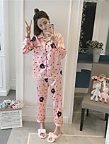 abordables -Costumes Pyjamas Femme Moyen Rayonne Bleu Rose Claire
