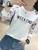 cheap -Women's Daily Casual T-shirt,Print Round Neck Long Sleeve Polyester