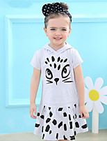 cheap -Girl's Sport Daily Solid Print Cat Dress,Cotton Summer Short Sleeves Cute Active Cartoon Gray