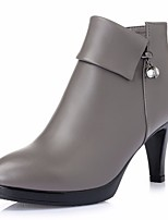 cheap -Women's Shoes Cowhide Winter Fall Comfort Bootie Boots High Heel Booties/Ankle Boots for Casual Red Gray Black