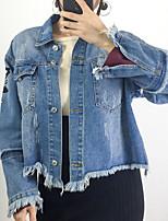 Недорогие -Жен. Повседневные Зима Джинсовая куртка V-образный вырез,Обычные Однотонный Длинная Длинные рукава Хлопок Акрил Крупногабаритные