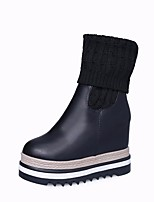 cheap -Women's Shoes PU Winter Fall Comfort Bootie Boots Wedge Heel for Casual Black Brown
