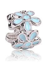 cheap -DIY Jewelry 1 pcs Beads Zircon Alloy Black Light Blue Flower Bead 0.5 cm DIY Necklace Bracelet