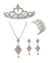 preiswerte -Damen Tiara Braut-Schmuck-Sets Strass Europäisch Modisch Hochzeit Party Diamantimitate Aleación Geometrische Form Körperschmuck 1