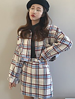cheap -Women's Daily Casual Fall Blazer Skirt Suits,Print Round Neck Long Sleeve Polyester